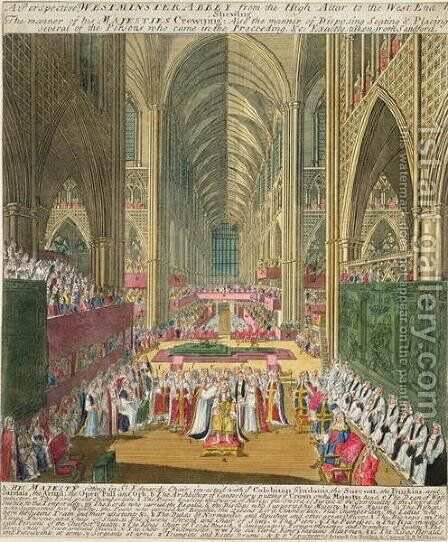 The Coronation of King James II 1633-1701 from a commemorative book by Francis Sandford, first published 1697 by (after) Sherwin, William - Reproduction Oil Painting