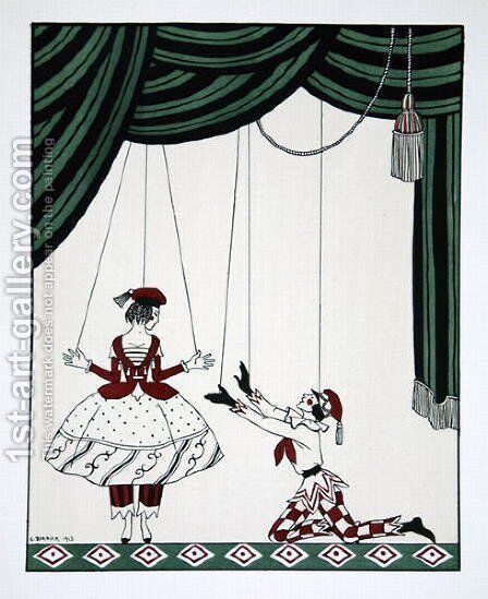 Petroushka, from the series Designs on the dances of Vaslav Nijinsky 1889-1950. Georges Barbier 1882-1932, Pochoir Print by Mikhail Shibanov - Reproduction Oil Painting