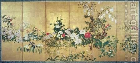 Flowers of the Four Seasons by (attr. to) Shiko, Watanabe - Reproduction Oil Painting