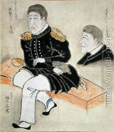 Perry and Adams by Hayashi Shikyo - Reproduction Oil Painting