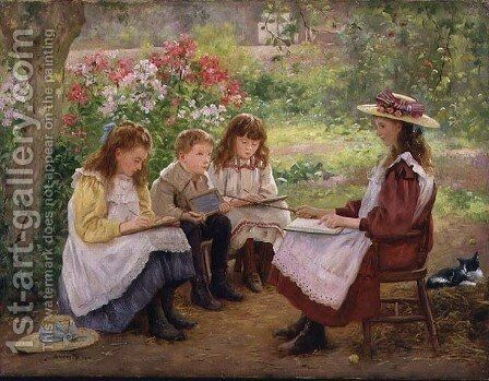 Lesson in the Garden, 1900 by Ada (nee Holland) Shirley-Fox - Reproduction Oil Painting