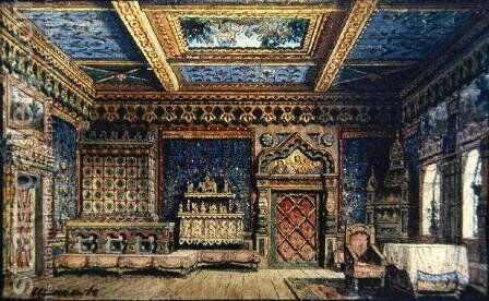 Stage Design for the Death of Ivan the Terrible by Tolstoy, 1860 by Matvey Andreyevich Shishkov - Reproduction Oil Painting