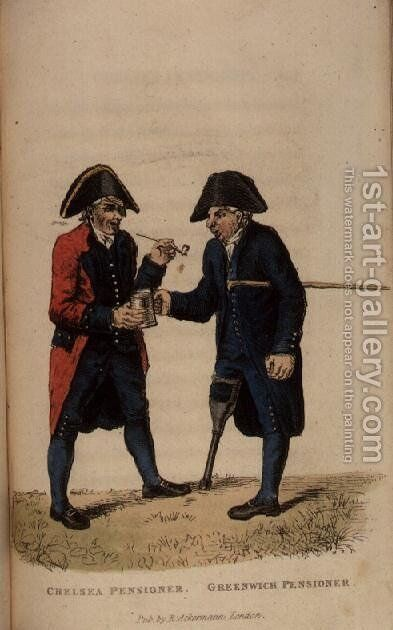 A Chelsea Pensioner and a Greenwich Pensioner from Ackermanns World in Miniature by (after) Shoberl, Frederic - Reproduction Oil Painting