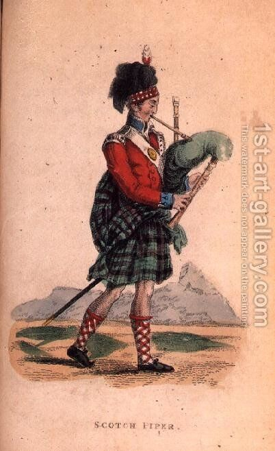 The Scotch Piper from Ackermanns World in Miniature by (after) Shoberl, Frederic - Reproduction Oil Painting