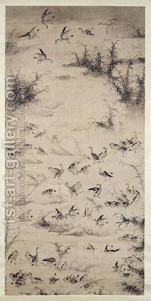 One Hundred Geese by Bian Shoumin - Reproduction Oil Painting