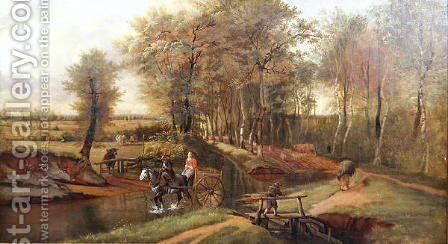 A Wooded River Landscape with Figures, Horse and Cart, 1692 by Jan Siberechts - Reproduction Oil Painting