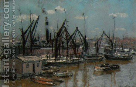 Harbour Scene by Bernard Sickert - Reproduction Oil Painting
