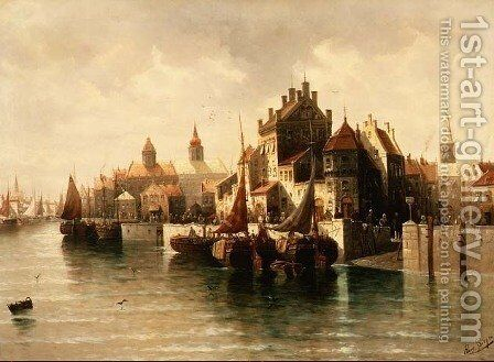 Kieler Canal by August von Siegen - Reproduction Oil Painting