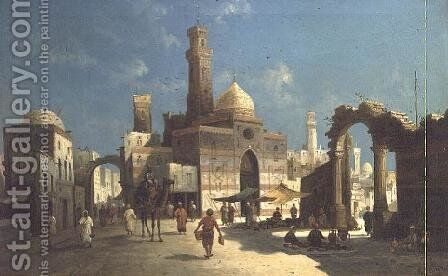 An Arab Town by August von Siegen - Reproduction Oil Painting