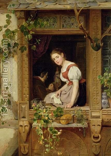 Dreaming on the windowsill by August Friedrich Siegert - Reproduction Oil Painting