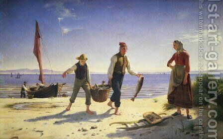 Landing the catch, Hornhaek beach, 1858 by Herman Carl Siegumfeldt - Reproduction Oil Painting
