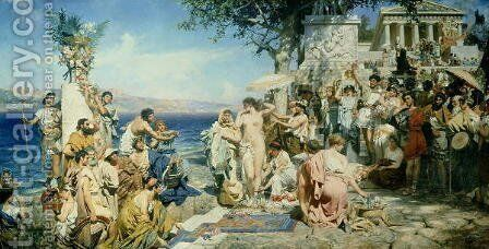 Phryne at the Festival of Poseidon in Eleusin by Henryk Siemieradzki - Reproduction Oil Painting