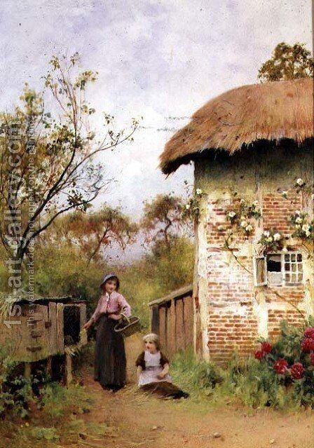 Gathering Primroses by Benjamin D. Sigmund - Reproduction Oil Painting
