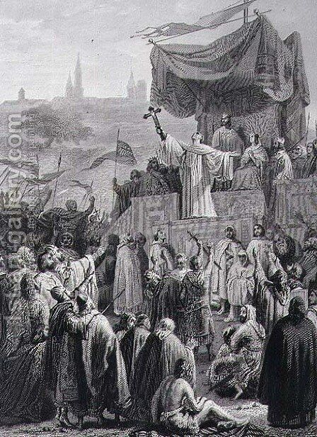Preaching the Second Crusade, engraved by Alexandre Marie Colin 1798-1875 by Emile Signol - Reproduction Oil Painting