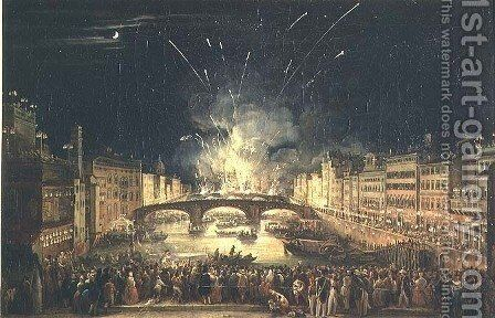 Fireworks over the River Arno by Giovanni Signorini - Reproduction Oil Painting