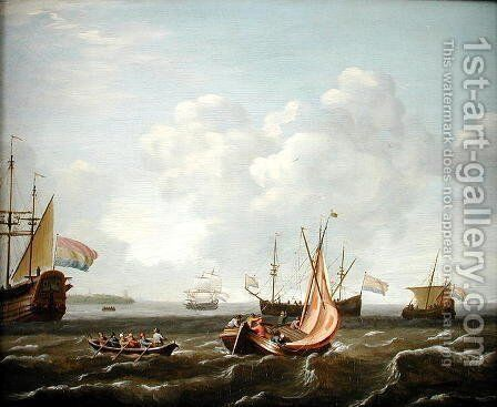 A Sailing Boat, A River Boat and a Dutch Three-Master off the Coast by Adam Silo - Reproduction Oil Painting