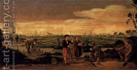 Fishermen and Farmers in a Landscape by Arent Arentsz - Reproduction Oil Painting