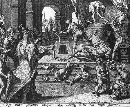 Destruction of the Statue of Bel 1565 by Cornelis Cort - Reproduction Oil Painting