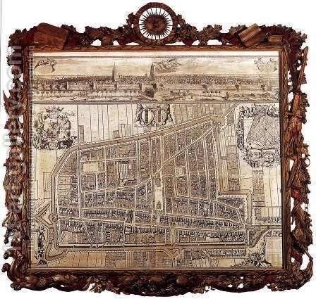 Map and Profile of Delft 1729 by Coenraet Decker - Reproduction Oil Painting