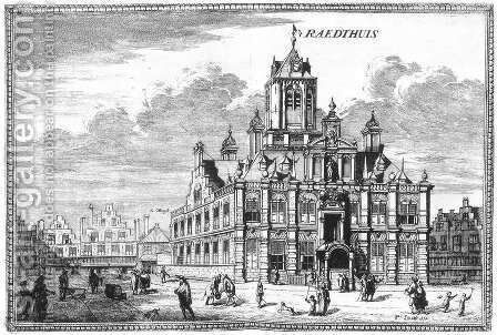 View of the Stadhuis Town Hall of Delft 1667-80 by Coenraet Decker - Reproduction Oil Painting
