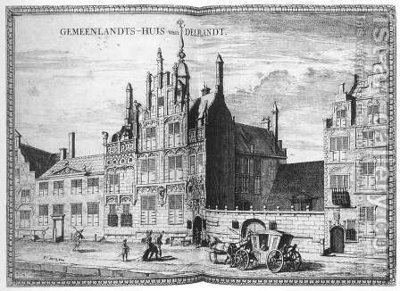 Gemeenlandshuis on the Oude Delft in Delft 1667-80 by Coenraet Decker - Reproduction Oil Painting