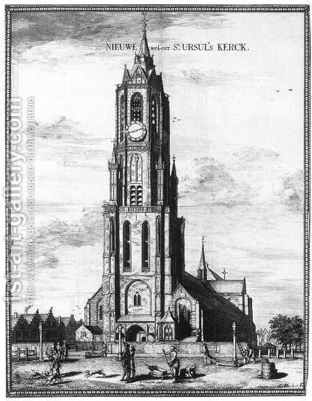 Exterior of the Nieuwe Kerk in Delft 1667 by Coenraet Decker - Reproduction Oil Painting