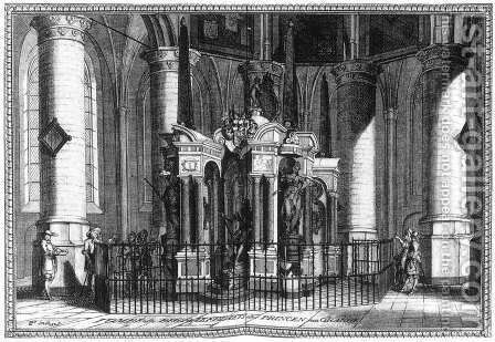 The Tomb of Willem the Silent in the Nieuwe Kerk, Delft 1667-80 by Coenraet Decker - Reproduction Oil Painting
