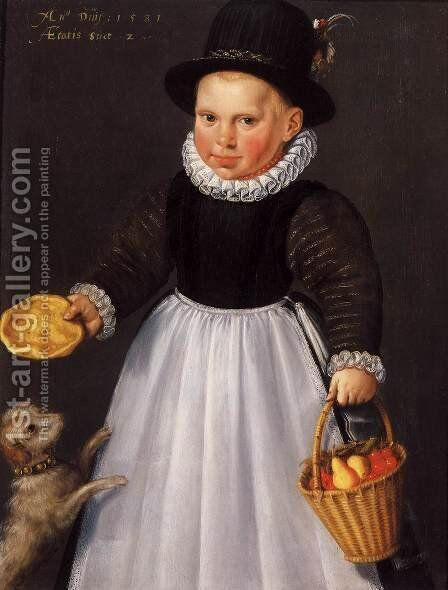 Portrait of a Young Boy 1581 by Jacob Willemsz I Delff - Reproduction Oil Painting