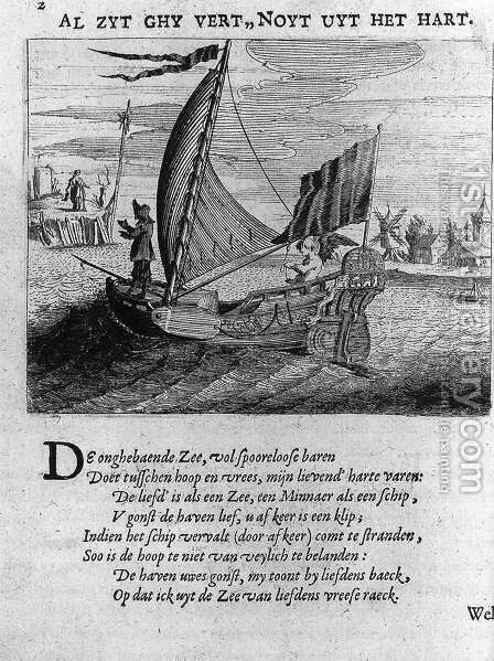Illustration from the Minne-beelden 1634 by Jan Harmensz. Krul - Reproduction Oil Painting