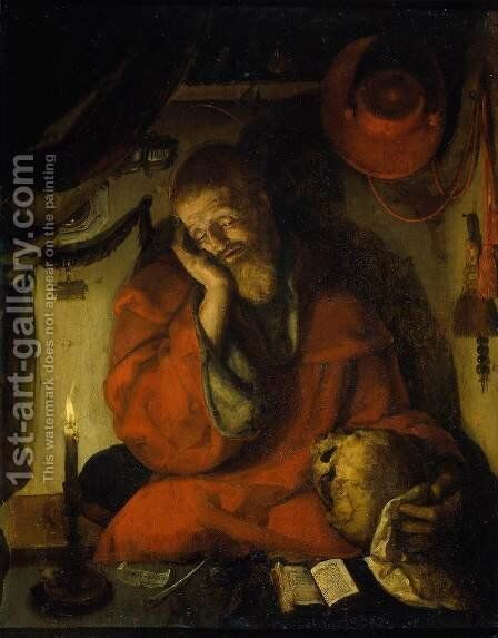 St Jerome by Aertgen van Leyden - Reproduction Oil Painting