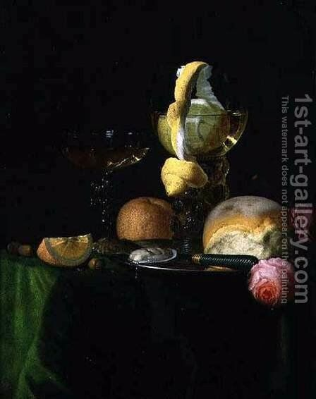 Still-Life with a Peeled Lemon in a Roemer by Simon Luttichuijs - Reproduction Oil Painting