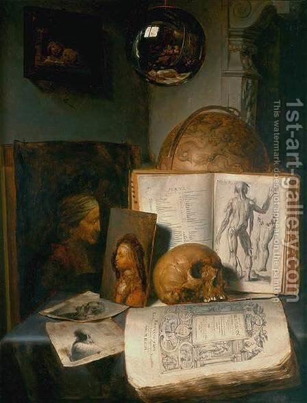 Vanitas Still-Life with a Skull 1635-40 by Simon Luttichuijs - Reproduction Oil Painting