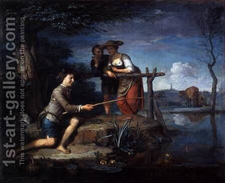 Angler c. 1700 by Carel de Moor - Reproduction Oil Painting