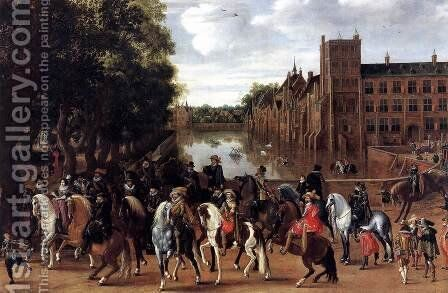 The Princes of Orange and Their Families Riding Out from the Buitenhof 1623-25 by Hendrick Ambrosius Packx - Reproduction Oil Painting