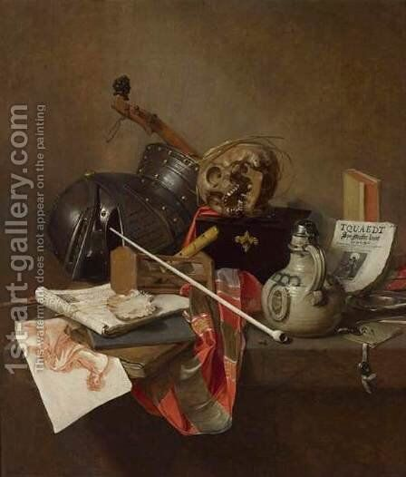 Vanitas Still-Life 1648 by Jan Jansz. Treck - Reproduction Oil Painting