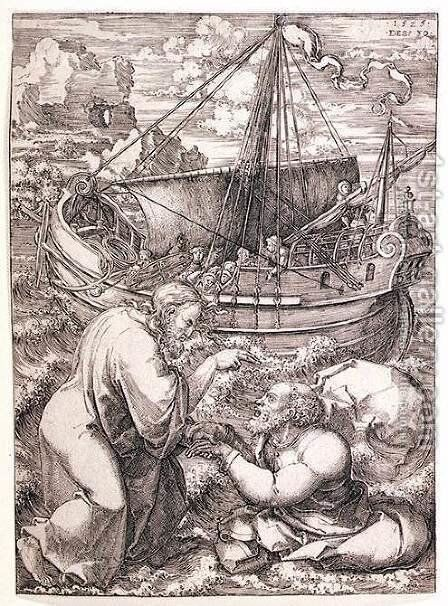 Christ Rescuing St Peter from the Sea 1525 by Dirck Jacobsz. Vellert - Reproduction Oil Painting
