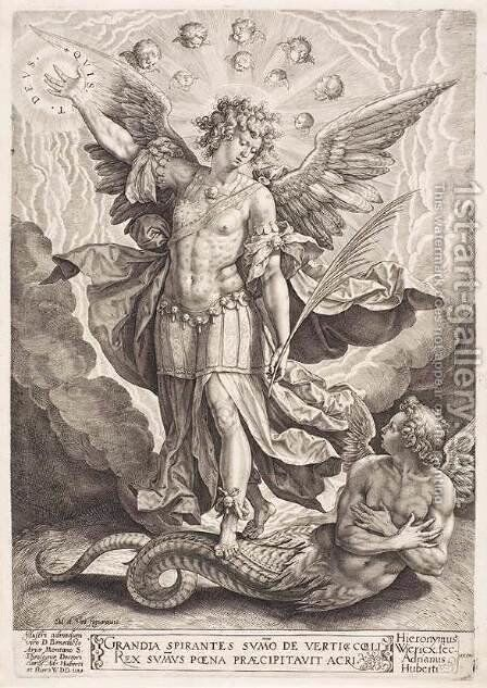 St Michael Slaying the Dragon 1584 by Hieronymus or Jerome Wierix - Reproduction Oil Painting