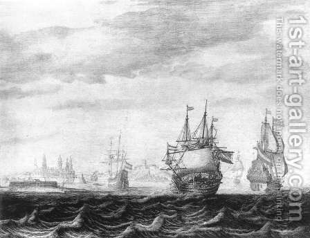 A Dutch Squadron on the Sont, near Castle Kronburg 1640s by Heerman Witmont - Reproduction Oil Painting