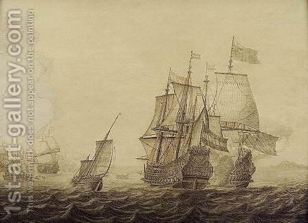 Action between Dutch and English Ships by Heerman Witmont - Reproduction Oil Painting