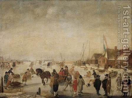 Enjoying the Ice by Barent Avercamp - Reproduction Oil Painting
