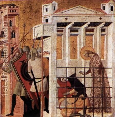Scenes from the Life of St Colomba St Colomba Saved by a Bear 1340s by Giovanni Baronzio - Reproduction Oil Painting
