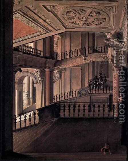 Staircase in the Berlin Palace 1828 by Eduard Gartner - Reproduction Oil Painting