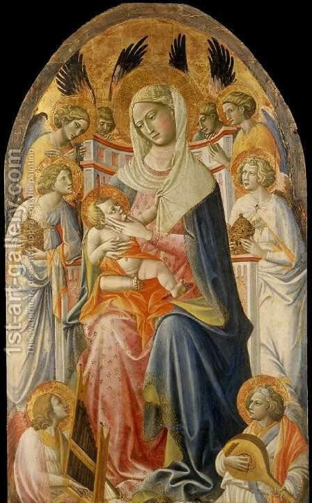 Virgin and Child with Angels c. 1425 by Dal Ponte Giovanni - Reproduction Oil Painting