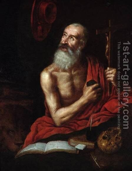 St Jerome 1636 by Antonio Puga - Reproduction Oil Painting