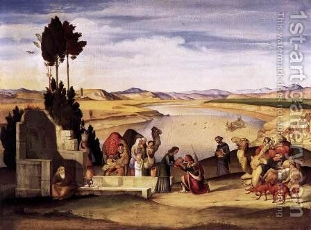 Rebecca and Eliezer at the Well 1819 by Johann Anton Alban Ramboux - Reproduction Oil Painting