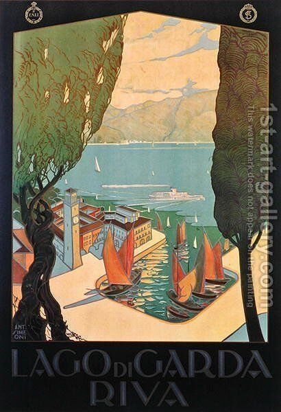 Poster of Lake Garda, printed by Barabino and Graeve, Genoa, c.1928 by Antonio Simeoni - Reproduction Oil Painting