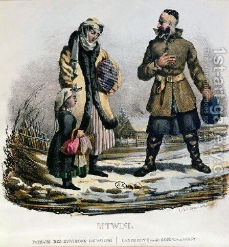 Lithuanian peasants from the Vilnius region, c.1830-40 by E. Simon - Reproduction Oil Painting