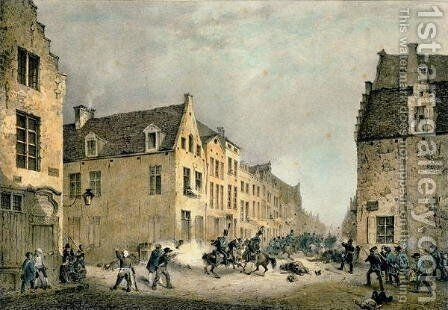 Diversion of a Dutch Division at the Porte de Flandre, Brussels, 23rd September 1830, engraved by Jean Baptiste Madou 1796-1877 by Gustave Adolphe Simoneau - Reproduction Oil Painting