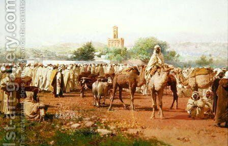 Arab Village Scene, 1883 by Gustavo Simoni - Reproduction Oil Painting