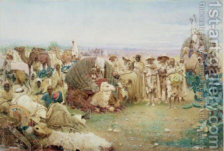 A Caravan resting at Kabylie, 1885 by Gustavo Simoni - Reproduction Oil Painting